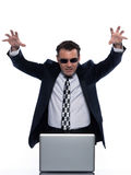 Man hacker computing white collar crime Royalty Free Stock Image