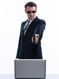 Man hacker computing white collar crime Stock Images