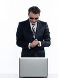 Man hacker computing white collar crime Royalty Free Stock Photo