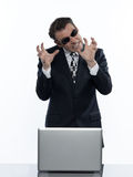 Man hacker computing white collar crime Royalty Free Stock Photos