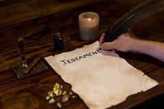 Man had wrote his testament Royalty Free Stock Images