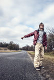 Man Hailing on a roadside of the road Royalty Free Stock Photo