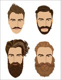Man hair and beards styles. Hipster fashion high detailed vector illustration. Royalty Free Stock Images