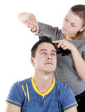 Man hair cut at the hairdresser Royalty Free Stock Photos