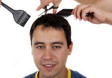 Man hair cut at the hairdresser Stock Image