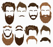 Man hair, mustache and beards collection. Hipster high detailed fashion elements on alpha background. Royalty Free Stock Photo