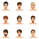 Man Hair Style Set. Handsome man male avatars set with haircut styles isolated vector illustration Royalty Free Stock Photo