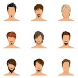 Man hair style set. Handsome man male head avatars set with haircut styles isolated vector illustration Stock Images