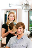 Man at the hairdresser Royalty Free Stock Images