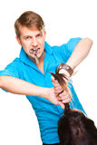 Man hairdresser working with scissors Royalty Free Stock Photography