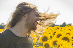 Man hairs at wind Royalty Free Stock Photography