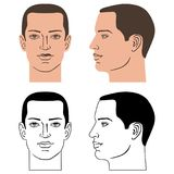 Man hairstyle head. Front, side, vector illustration isolated on white background Stock Photography