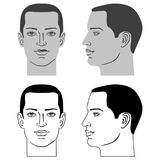 Man hairstyle head. Front, side, vector illustration isolated on white background Stock Photos