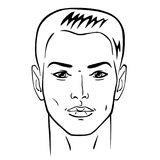 Man hairstyle head. Front, vector illustration isolated on white background Stock Photos