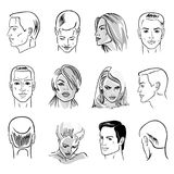 Man hairstyle head set. Front, side views, vector illustration isolated on white background Stock Photo