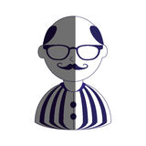 Man half body silhouette color with mustache and glasses with shirt striped and bald Stock Photography