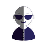 Man half body silhouette color with sunglasses and bald Royalty Free Stock Photos