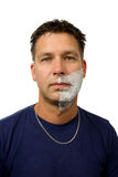 Man with half shaved face Royalty Free Stock Photography