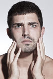 Man is half shaved posing Royalty Free Stock Photo