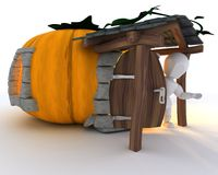 Man in Halloween Pumpkin Cottage Stock Photo