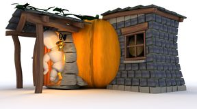 Man in Halloween Pumpkin Cottage Royalty Free Stock Images