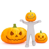 Man with halloween pumpkins concept Stock Photography