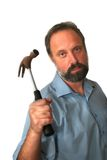 The man with a hammer. The man has prepared for a hammer for work Royalty Free Stock Photo