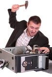 The man with the hammer. Technician repairing PC isolated on white Royalty Free Stock Photography