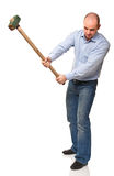 Man with hammer in action Stock Photos