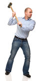 Man with hammer in action Royalty Free Stock Photo