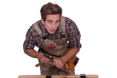 Man with hammer and chisel Royalty Free Stock Photography