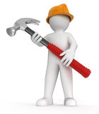 Man and Hammer (clipping path included) Stock Photography
