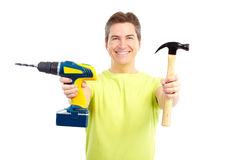 Man with hammer and drill Royalty Free Stock Photos