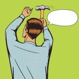 Man hammer in nail pop art style vector Stock Photo