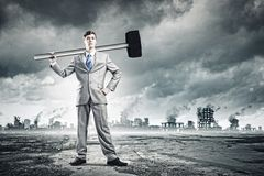 Man with hammer Royalty Free Stock Photos