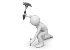 Man hammers in the nail. 3d characters isolated on white background series Royalty Free Stock Photos