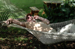 Man in a Hammock Stock Photography