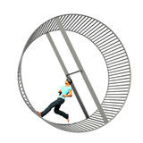 Man in Hamster Wheel Royalty Free Stock Image