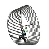 Man in Hamster Wheel Stock Image