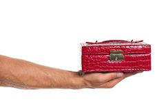 Man hand. Man holding a red box isolated on white background stock photo