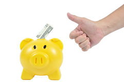 Man hand action with yellow piggy-bank, business concept Royalty Free Stock Photos