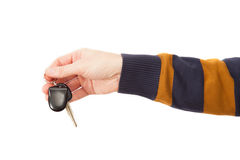 The man hand with auto key Royalty Free Stock Images