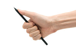 Man hand with black pencil on a white background Royalty Free Stock Photo