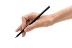 Man hand with black pencil on a white background Stock Photo