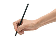 Man hand with black pencil on a white background stock photos