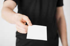 Man hand with blank paper Stock Photo