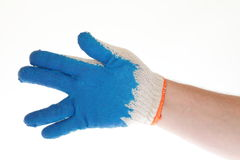 Hand in protective glove Royalty Free Stock Photography