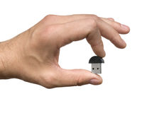Man hand with a bluetooth Stock Images