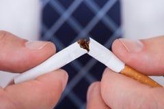 Man Hand Breaking Cigarette Stock Photo