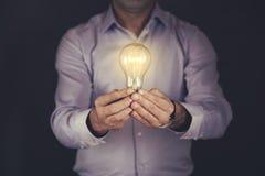 Man hand bulb royalty free stock photography
